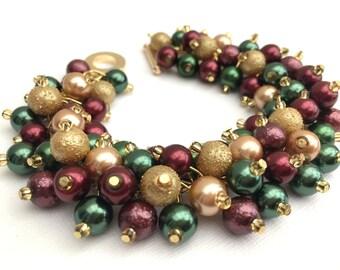 Tartan Wedding Theme Pearl Bridesmaid Bracelet, Wedding Jewelry, Red Gold and Green, Winter Wedding, Cluster Bracelet, Scottish Wedding