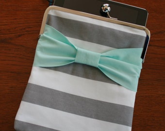"iPad Air Cover Case, iPad Pro 9.7 Case Cover, iPad 3 Case Cover,  9.7"" iPad Pro Case - Gray White Stripe You r Choice of Bow Color"