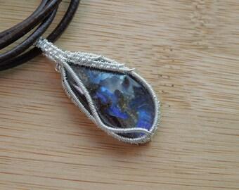 Sterling Silver Boulder Opal Pendant Cabochon Wire Wrapped in Sterling Silver Wire Wrapped Jewelry Handmade Necklace Brown Blue Freeform Cab