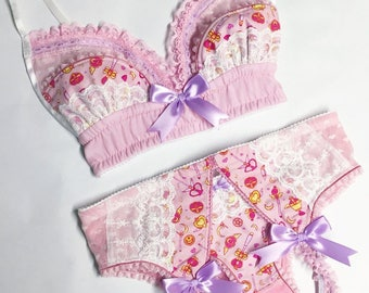 Light Pink Sailor Moon Bra - Pick Your Size - LIMITED EDITION - Handmade Vegan Bridal