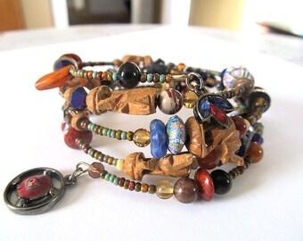 Memory Wire Bracelet, Elephant Bracelet, Rustic Wrap Bracelet, Ethnic Jewelry, Bohemian Cuff
