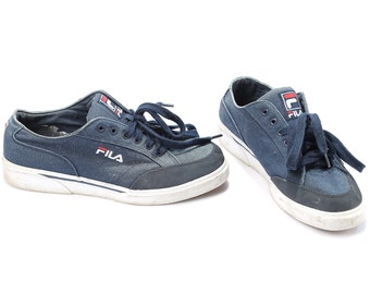 FILA Sport Shoes 90s Sneakers Canvas Blue White Lace Up Tie Sneakers Lining Hip Hop Street Style Wide Fit Eur 41.5 Us men 8 Uk 7.5