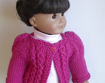 18 Inch Doll Clothes Knit Cardigan Sweater with Puff Sleeves and Cables on Yoke in Pink Handmade to fit American Girl Doll - Ready to Ship