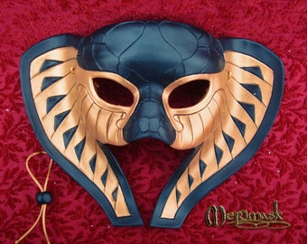 READY TO SHIP Kebechet Goddess Leather Mask #2 ... handmade egyptian cobra snake costume masquerade Halloween Mardi Gras Burning Man