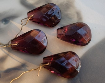 4 Vintage Amethyst Glass Drops Chandelier Part