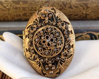 Large Vintage Brass Locket Filigree Oval