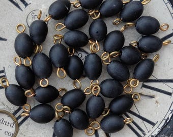 Vintage Black Glass Connector Beads Links