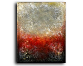 24 x 30 x 1.38 Original Painting Heavily Textured Red Brown Greys Black Beige Abstract Contemporary Modern Elena