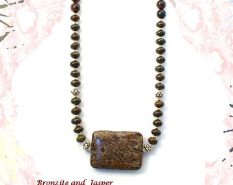 Bronzite and Sterling Silver Necklace, Brown Jasper Necklace, 2nd Chakra Jewelry, Leo Birthday  - N2012-07