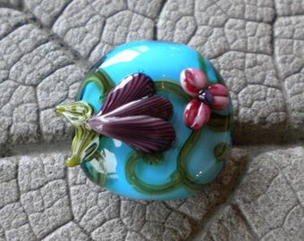 SALE 20% OFF Pink Purple Turquoise Floral Glass Focal Lampwork Beads by Cherie Sra R114 Flamework Glass Bead encase Pink Flower Focal Purple