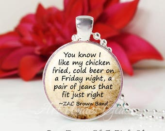 Round Medium Glass Bubble Pendant Necklace- Chicken Fried- Zac Brown Band Song Lyrics