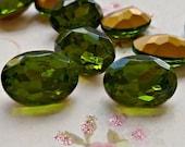 November Sale - Two 18x13mm Olivine Green Oval Glass Rhinestone Jewels (11-10F-2)