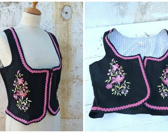 Vintage 1970/70s German / Austrian/Tyrol embroidered dirndl corset bustier top size M/L