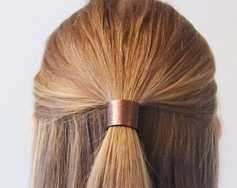 Leather Hair Cuff Ponytail Holder in Bronze size 3inches