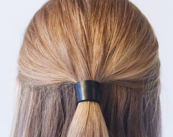Leather Hair Cuff Ponytail Holder in Matte Black size 3inches