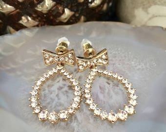 Bling bling Gold bow tie CZ Cubic Zirconia clear Dropbow  Earrings- Bride earrings-weddings dangle earrings-feminine earrings-vegas earrings