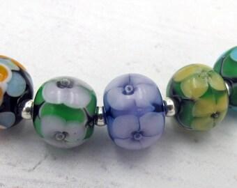 Summer Garden Lampwork Beads Handmade