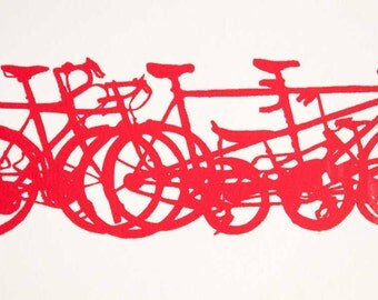 Bicycle Art Print - Bike Stack Mini Profiles Red on White - Bicycle Art Print- Bike Wall Art - Bicycle Painting - Cycling