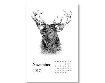Printable 2017 Calendar. Hoofed Animals.