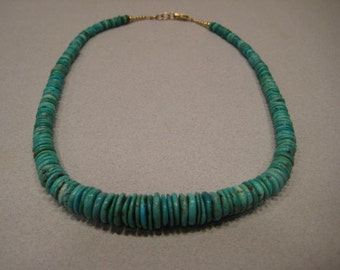 Beautiful Hand Made Turquoise Disk -- Beaded Necklace...  Turquoise Beads and Gold Fill .. approx 18 inches ...   e958