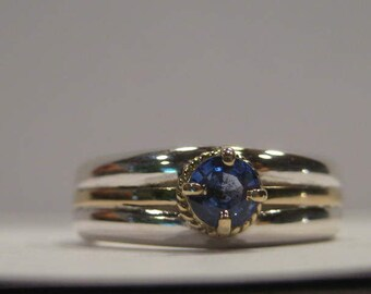 Blue Sapphire Sterling Silver and 14 kt Yellow Gold Band  .....   size 7 .............   A9