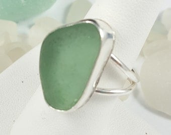 Sea Glass Jewelry Sea Glass Ring Aqua Seafoam Sea Glass Ring Aqua Seafoam Beach Glass Ring Size 8 - R-135
