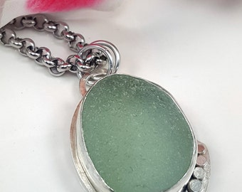 Sea Glass Necklace Sea Glass Jewelry Aqua Sea Glass Necklace Beach Glass Jewelry - N-475