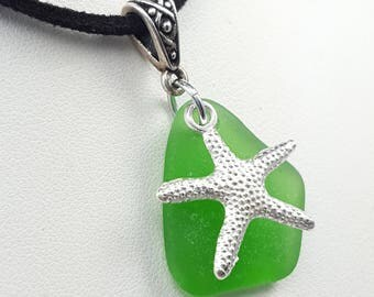 Choker Necklace Sea Glass Necklace Sea Glass Jewelry Leather Choker Kelly Green Beach Glass Necklace Starfish Charm Necklace N-504