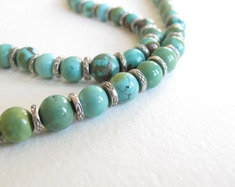 Turquoise & Sterling necklace - handcrafted floating heart clasp