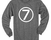Seventh Birthday Shirt Long Sleeve Heather Black Kids 7th Birthday T-Shirt