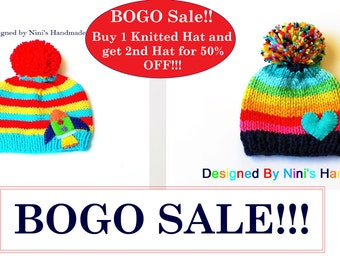 Buy 1 KNITTED Hat and get the 2nd hat for 50% OFF- please read below for exclusions- Made in the USA, Beanie Sale, Bogo sale