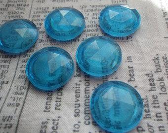Vintage Aqua Blue 18mm Round Reflector Cabochons 6 Pcs
