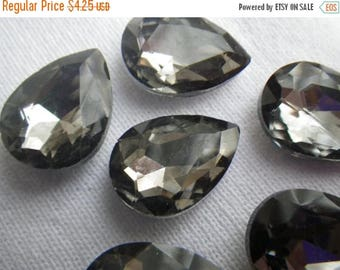 On Sale 25% Off Black Diamond 18x13mm Pear Crystal Glass Pointed Back Gems 4 Pcs
