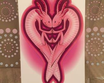 """Axolotl Love - 6x4"""" Matte Art Print"""