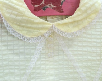 Vintage yellow Voile Peter Pan collar dress and slip size 4T - 5T