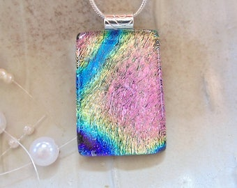 Pink Necklace, Blue, Dichroic Glass Pendant, Necklace, Fused Glass Jewelry, Cobalt Blue, Aqua, Necklace Included, A12