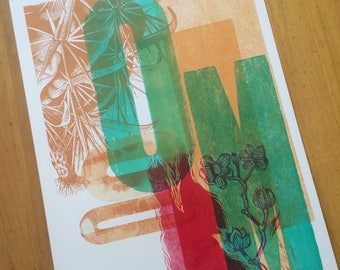 One of a Kind Monoprint Hand Printed Letterpress Cactus and floral linocut Poster linocut wood engraving wood type no106