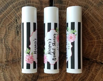 Personalized Lip Balm Stickers -- Peony Stripe -- Custom Chapstick Labels, Slumber Spa Party Favors, Wedding Favors