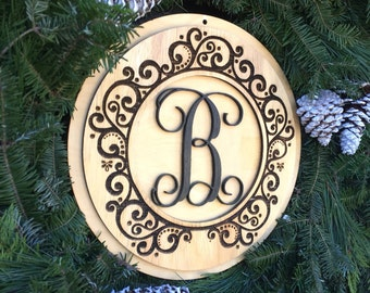 Wood Door Monogram - Wreath Center - Christmas Gift - Monogram Door Decor - Wall Monogram - Laser cut Wooden Initials