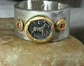 Ancient Greek Coin Statement Ring,  22 kt yellow gold, silver and ruby  ring, Ancient coin jewelry, Aries Horoscope ring