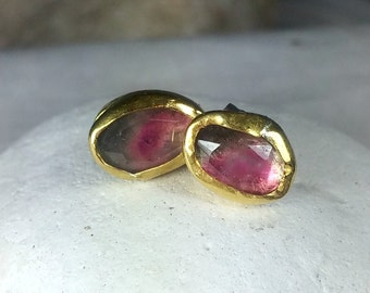 Watermelon Tourmaline and  solid gold Stud earrings, 22 kt solid recycled gold studs, gemstone gold  earrings