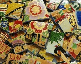 Mosaic Tiles- Oriental Dynasty No. 10- Mix Gold Outline-52 Tiles