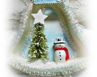 Let It Snow, Bell Shape Tart Pan Ornament, Hand Created and Embellished, Tree Ornament, Gift, Collectible, ECS