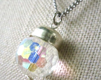 Boule de Cristal Necklace - iridescent faceted crystal globe pendant on silver metal chain - Free Shipping to USA