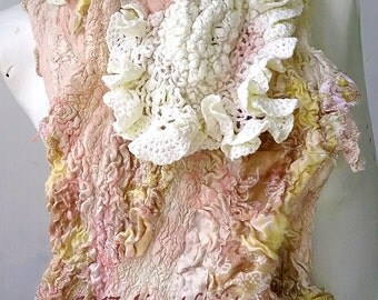 Vintage Textured Felt Scarf Cream Pink -  Winter Scarf Eco Fashion