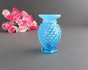 Vintage Blue Hobnail Vase, Opalescent Bud Vase, Small Vase, Flower Vase, Wedding Decoration, Wedding Vase