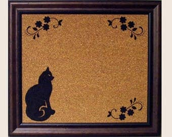 framed cork board framed stenciled cat corkboard framed bulletin board framed memo board framed message board - Framed Cork Board