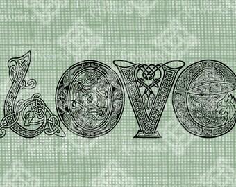 Digital Download, LOVE in Celtic Letters, St Patrick's Day, Ireland, Celtic Knot, Shamrock Iron on Transfer, DigiStamp, Transparent png