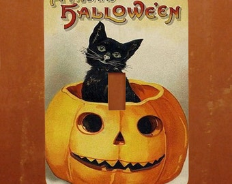 Black Cat in a Pumpkin -- Vintage Cat Halloween Card Switch Cover -- Oversized (Multiple Styles)