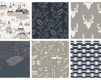 BUNDLE - Hello, Bear - Indian Summer - Art Gallery Fabrics - Bonnie Christine - - Woodland Quilting Fabric Bundle - Deer Feathers Forest